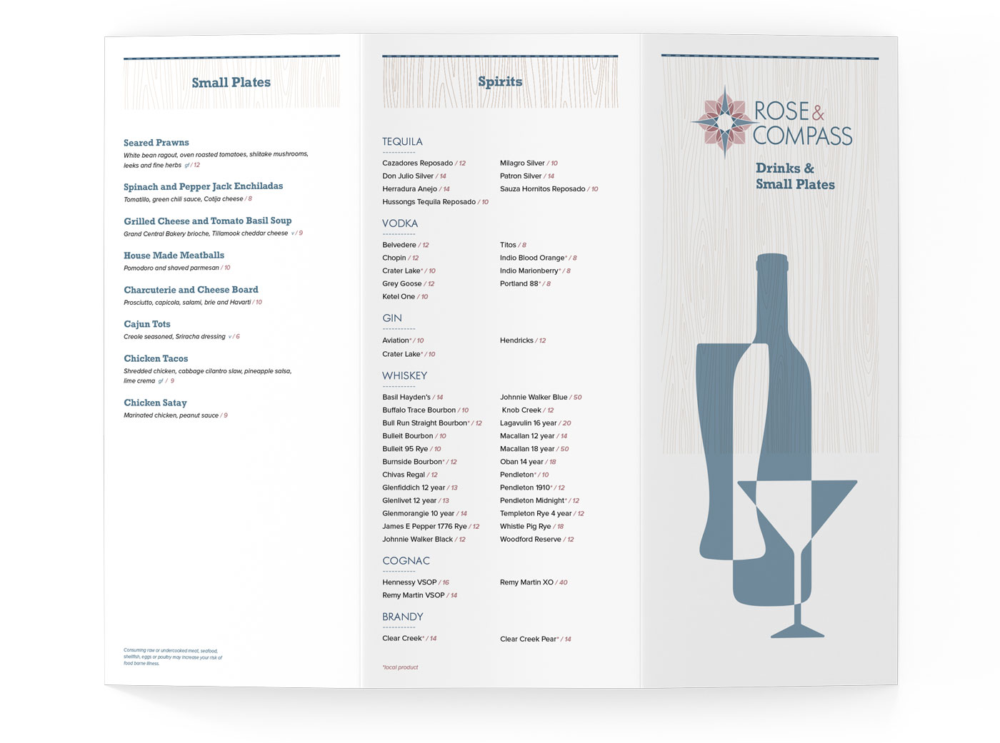 Rose & Compass restaurant menu design