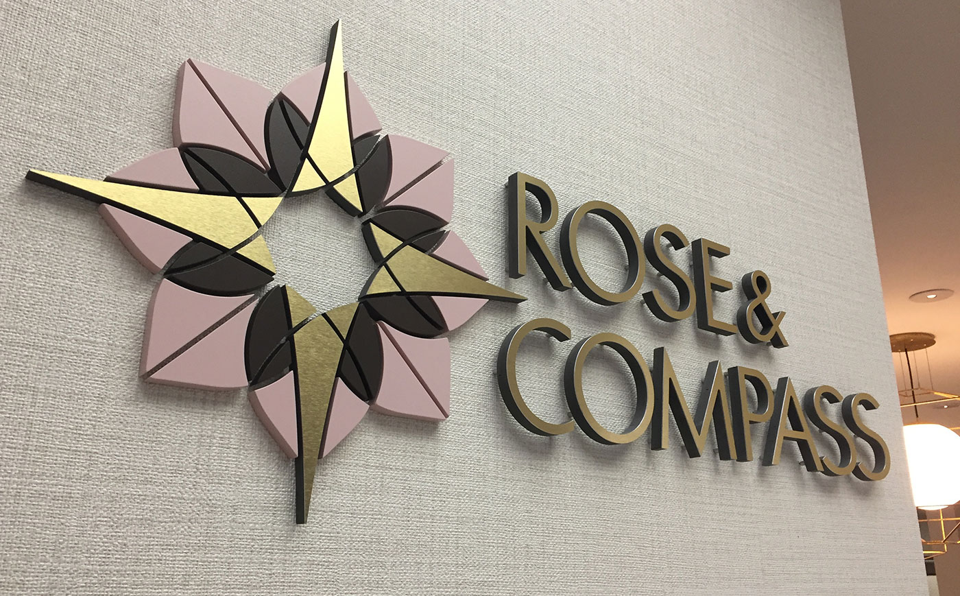 Rose & Compass restaurant sign design