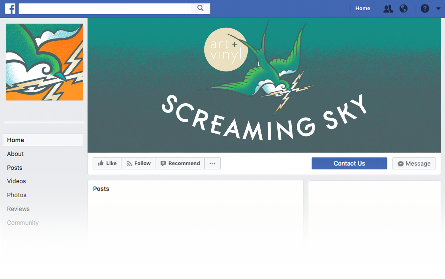 Screaming Sky facebook cover design