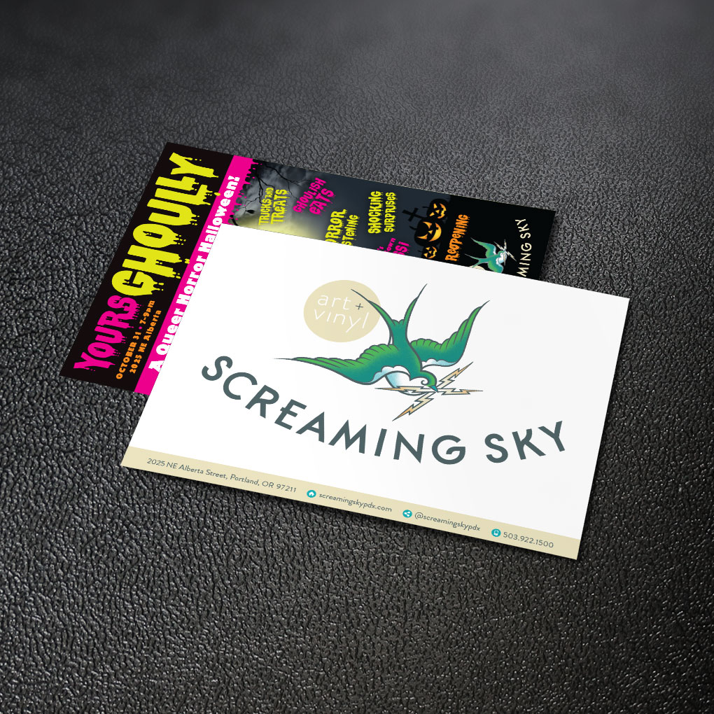 Screaming Sky postcard design