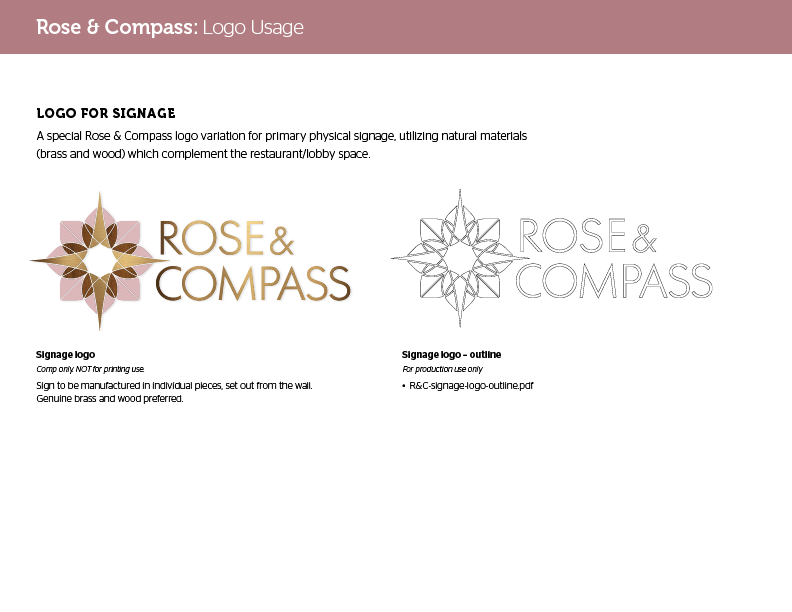 Sheraton Rose & Compass sign brand standards guide
