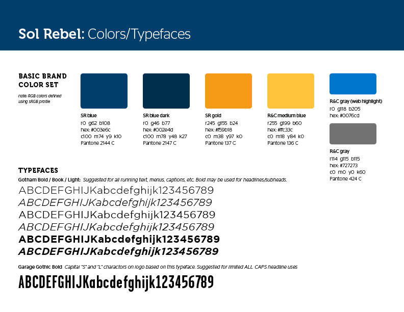 Sol Rebel brand standards guide