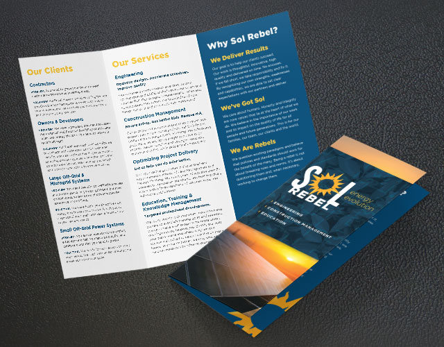 Sol Rebel trifold brochure design