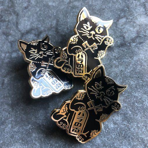 Rose City Maneki Neko pin