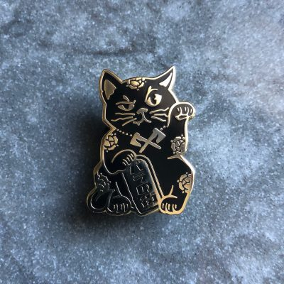 Rose City Maneki Neko pin