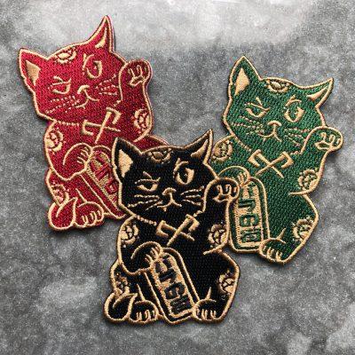 Rose City Kitty (maneki neko) patch trio