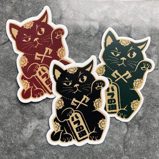 Rose City Kiuttyf (maneki neko) sticker trio