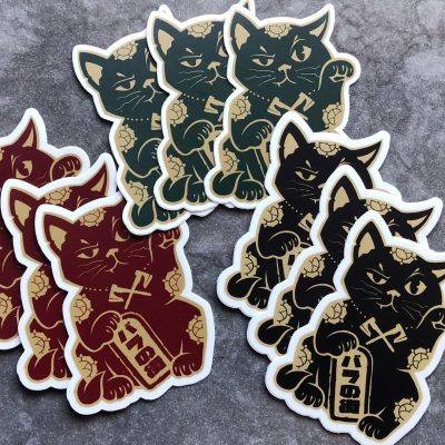 Rose City Kitty Maneki-Neko stickers